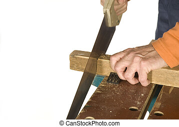 sawing the wood for a construction