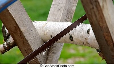 Sawing wood with a hand saw