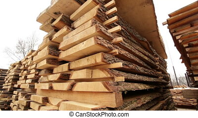 sawmill bark boards storage wood