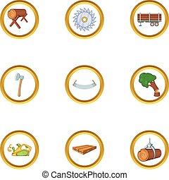 Sawmill icon set, cartoon style
