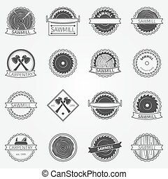 Sawmill labels and badges - vector set of dark sawmill or...