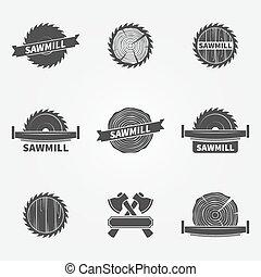 Sawmill logo or label - vector set of dark carpentry symbols...