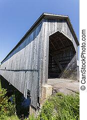sawmill, riacho, ponte coberta