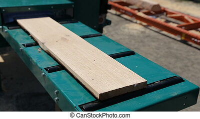 Sawmill. The process of cutting logs into boards