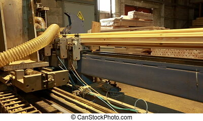 Sawmill. View of milling machine for timber