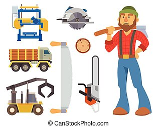 Sawmill woodcutter character logging equipment lumber machine industrial wood timber forest vector illustration.