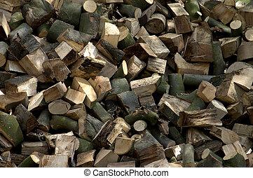 Large pile of sawn pine logs