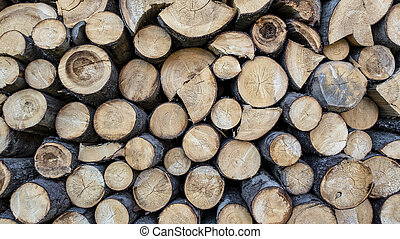 Sawn timber harvested in the woodpile
