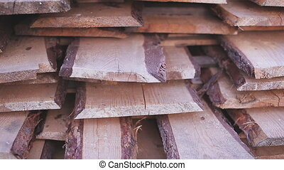 sawn timber wood lumber industry - Stack of new wooden studs...