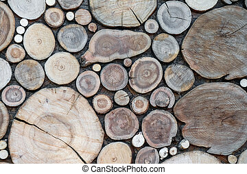 sawn wood on the wall as a background