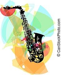 saxófono, colorido, ilustración