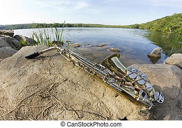 saxófono, lago, fisheye