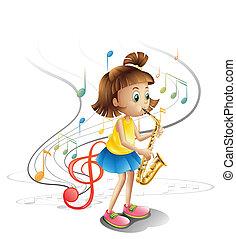 saxófono, talentoso, niño