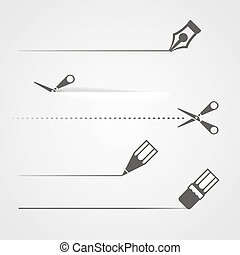 sax, avdelare, krita, penna