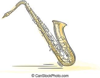 Sax Drawn Watercolor