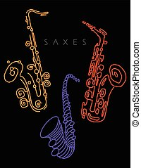 Sax illustration in neon colors on black