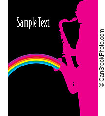 sax man - A vector background with a man playing a sax