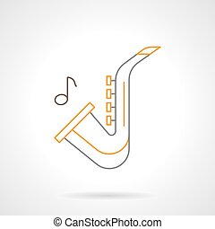 Sax melody flat line vector icon - Saxophone with one note. ...