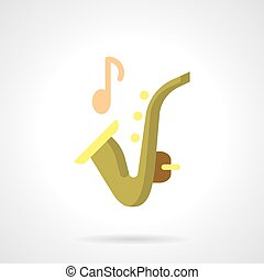 Sax music flat color vector icon