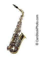 Sax musical instrument on tne white background