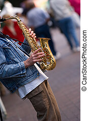 Sax Player - Street musician in downtown Vancouver