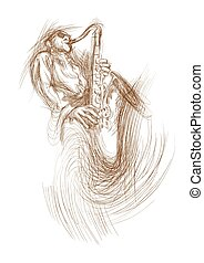 sax player - an hand drawn illustration from series: music...