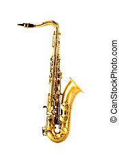 sax tenor, dourado, saxofone, isolado, branco