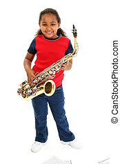 Saxaphone Girl Child - Beautiful African American girl...