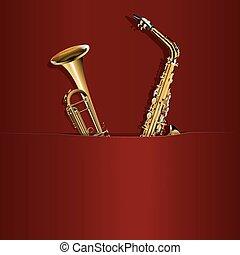 saxofon, a, trubka, do, tvůj, kapsa