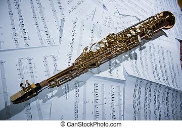 saxofone, folha, mentindo, música