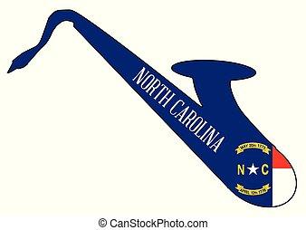 saxofone, silueta, com, bandeira carolina norte, ícones