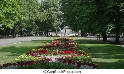 Saxon park, Warsaw - Saxon park, Park Saski at summer day,...