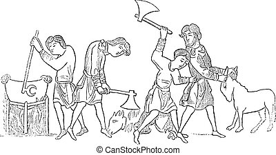 Saxons preparing a meal, vintage engraving.
