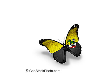Saxony-Anhalt flag butterfly, isolated on white background