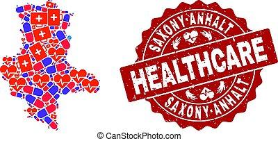saxony-anhalt, mapa, colagem, cuidados de saúde, selo, estado, textured, selo, mosaico