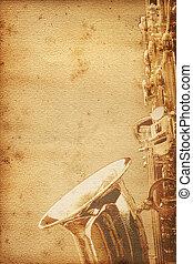 saxophon, papel, antigas