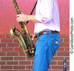 saxophon, player.