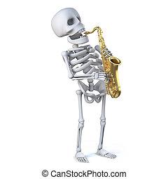 saxophone, 3d, jeux, squelette