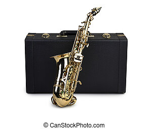 Saxophone and case isolated on white