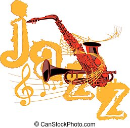 saxophone and trumpet entwined with music notes