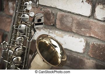 Saxophone Brick Wall