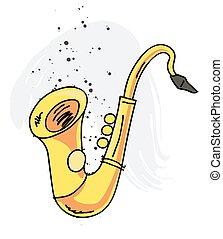 Saxophone cartoon hand drawn image