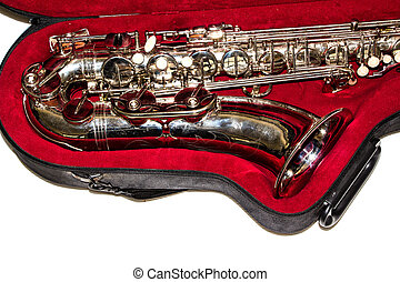 saxophone close-up isolated