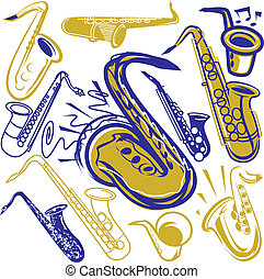 Saxophone clip art and design element set