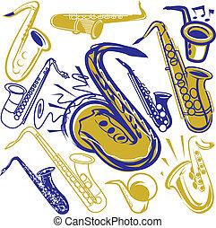 Saxophone Collection - Saxophone clip art and design element...