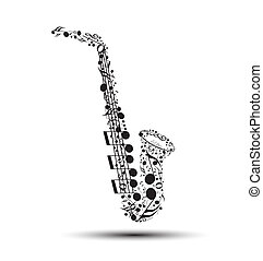 Decoration of musical notes in the shape of a saxophone