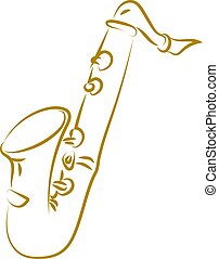 Saxophone drawing, illustration, vector on white background.
