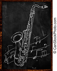 Saxophone drawing sketching on blackboard music wallpaper