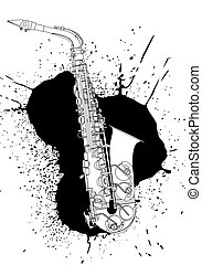 saxophone - Vector illustration saxophone on white...