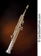 Saxophone Gold Silver Isolated Black